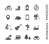 icons forest camping set with... | Shutterstock . vector #444262102