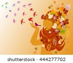 vector girl face side with bird ... | Shutterstock .eps vector #444277702