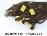 curler on hair in isolated... | Shutterstock . vector #444281938