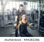young adult fitness couple.... | Shutterstock . vector #444282286