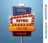 retro light sign. vintage style ... | Shutterstock .eps vector #444295426
