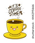 cute cup of coffee isolated on... | Shutterstock .eps vector #444295666