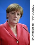 Small photo of JUNE 2, 2016 - BERLIN: German Chancellor Angela Merkel at a press conference after a meeting with the NATO Secretary General in the Federal Chanclery in Berlin.