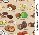 collection of different nuts... | Shutterstock . vector #444303706
