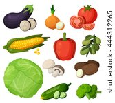 colorful vegetables icons set.... | Shutterstock .eps vector #444312265