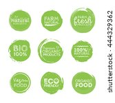 green eco food labels. health... | Shutterstock .eps vector #444329362
