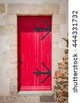 Antique Wooden Red Door Of...