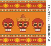 mexican themed calavera... | Shutterstock .eps vector #444337486
