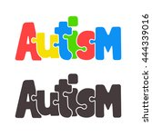 hand drawn autism lettering in... | Shutterstock .eps vector #444339016