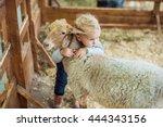 Girl Hugging Lamb On The Farm