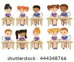 funny pupils sit on desks read... | Shutterstock .eps vector #444348766