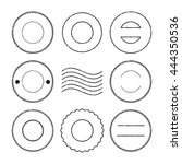 set of black postal stamp and... | Shutterstock .eps vector #444350536