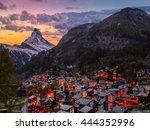 Old Town Of Zermatt With Mount...
