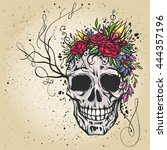 human skull with flower wreath... | Shutterstock .eps vector #444357196