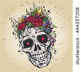 human skull with flower wreath... | Shutterstock .eps vector #444357208