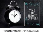 black alarm clock isolated on... | Shutterstock . vector #444360868