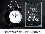black alarm clock isolated on... | Shutterstock . vector #444360895