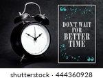 black alarm clock isolated on... | Shutterstock . vector #444360928