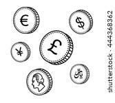 vector line hand drawn coins.... | Shutterstock .eps vector #444368362