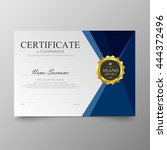 blue certificate diploma... | Shutterstock .eps vector #444372496