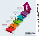 abstract 3d business stair step ... | Shutterstock .eps vector #444376912