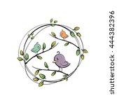 cute  cartoon birds in vector | Shutterstock .eps vector #444382396