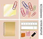 set icons items for school and... | Shutterstock .eps vector #444400126