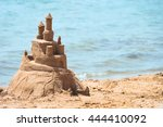 built house sand castle with... | Shutterstock . vector #444410092