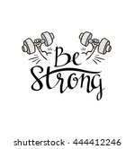 fitness bodybuilding hand drawn ... | Shutterstock .eps vector #444412246