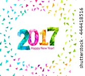 happy new year 2017 greeting... | Shutterstock .eps vector #444418516