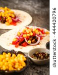 mexican food   tacos with meat  ... | Shutterstock . vector #444420796