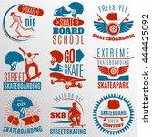 Skateboarding Emblem Set In...