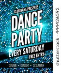 dance party poster template.... | Shutterstock .eps vector #444426592