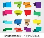 set of paper banners.origami... | Shutterstock .eps vector #444439516
