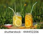 Two Glass Jars C Lemonade...
