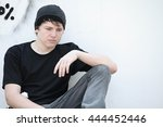 sad depressed lonely adolescent ... | Shutterstock . vector #444452446