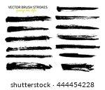 grunge ink brush stroke set.... | Shutterstock .eps vector #444454228
