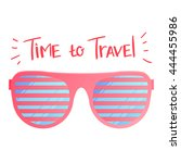 sunglasses and place for text ... | Shutterstock .eps vector #444455986