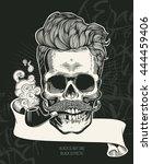 skull. hipster skull silhouette ... | Shutterstock .eps vector #444459406