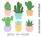 set of six illustrations of... | Shutterstock .eps vector #444465868