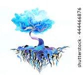 watercolor magic tree. hand... | Shutterstock . vector #444466876