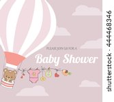 baby girl shower card with hot...   Shutterstock .eps vector #444468346