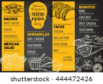 mexican menu placemat food... | Shutterstock .eps vector #444472426