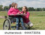 a disabled child in a... | Shutterstock . vector #444473056
