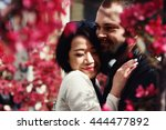 romantic couple  asian girl and ... | Shutterstock . vector #444477892