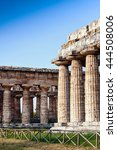 Small photo of Classical greek temple at ruins of ancient city Paestum, Italy, Europe