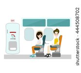 passenger sitting at window... | Shutterstock .eps vector #444508702