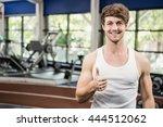 happy man showing his thumbs up ... | Shutterstock . vector #444512062
