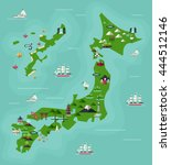 japan travel map with famous... | Shutterstock .eps vector #444512146
