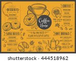 coffee menu placemat food... | Shutterstock .eps vector #444518962